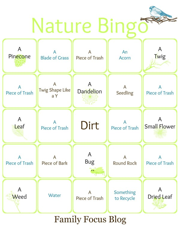 Earth Day Nature Bingo Card Printable